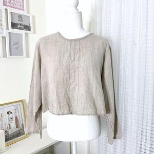 Flax by Jeanne Engelhart Long Sleeve Crop Top S